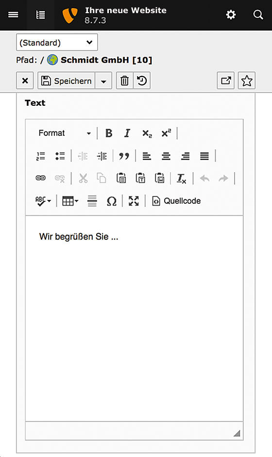 Screenshot des TYPO3-Backends auf einem Smartphone (Version 8.7)