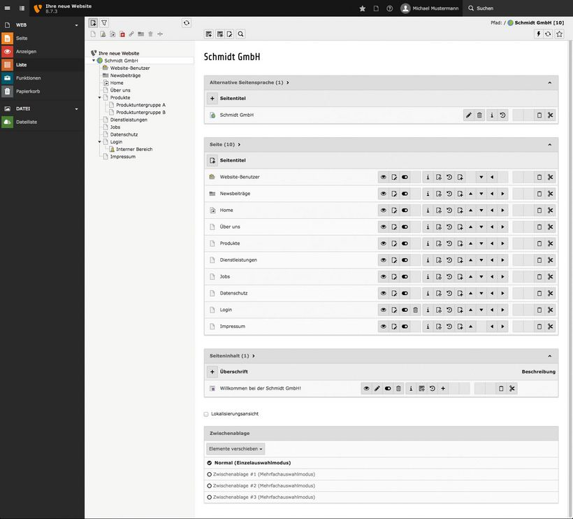 Screenshot eines TYPO3-Backends (Version 8.7)