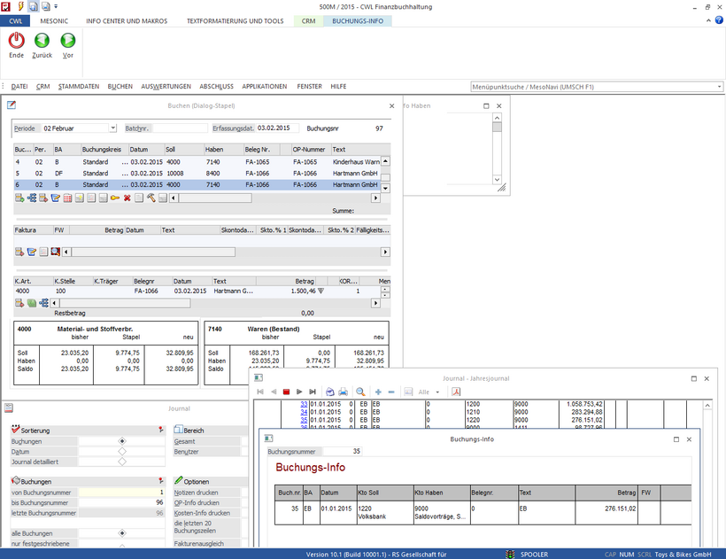 Screenshot der mesonic WinLine FIBU
